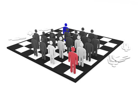 Two abstract men teams battle on a chessboard photo