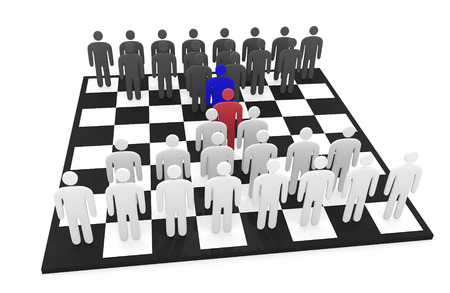 Two abstract men teams stand on a chessboard before each other Stock Photo