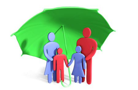 Abstract happy family stands under umbrella. Conception of safety