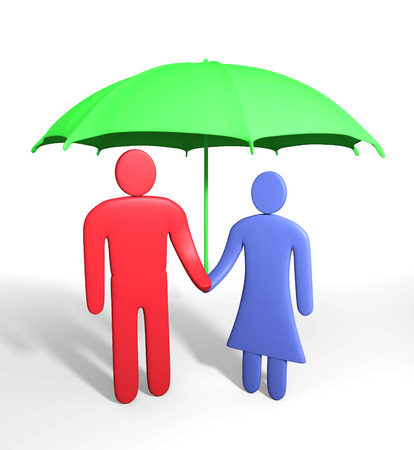 Abstract human couple stands under umbrella. Conception of safety photo