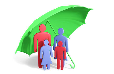 Abstract human family of four under umbrella. Conception of safety Stock Photo