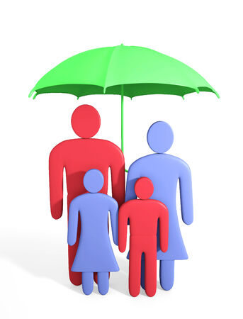 Abstract human family under umbrella. Conception of safety