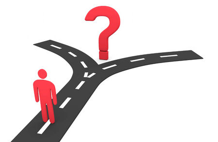 Abstract man at the crossroads. Conception of choice 免版税图像