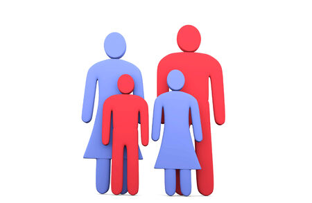 doughter: Abstract traditional family of four. Conception of family relationships Stock Photo