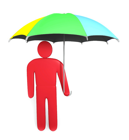 Abstract man stands with multicolored umbrella photo