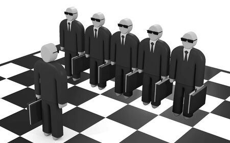 opposing: Abstract businessman stands on a chessboard before opposing team