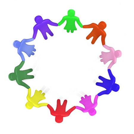 Plenty of colorful people standing in a circle hand in hand photo