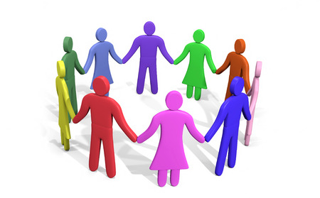 Plenty of colorful people standing in a circle holding hands