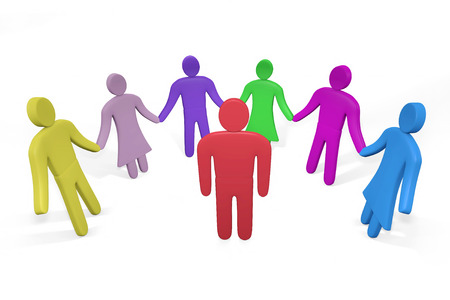 teambuilding: Man standing among friends or colleagues. Concept of teambuilding