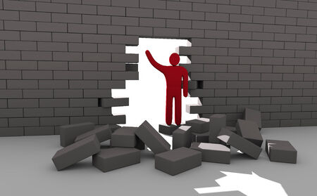 obstacles: Abstract man breaking trough a wall. Concept of overcoming obstacles