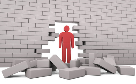 trough: Abstract man breaking trough a wall. Concept of solution to the problem