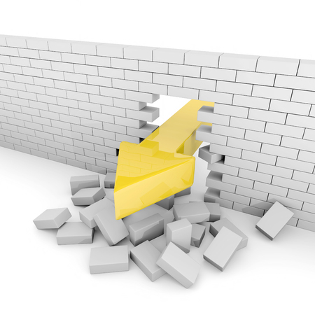 big break: Huge arrow breaks a gray brick wall
