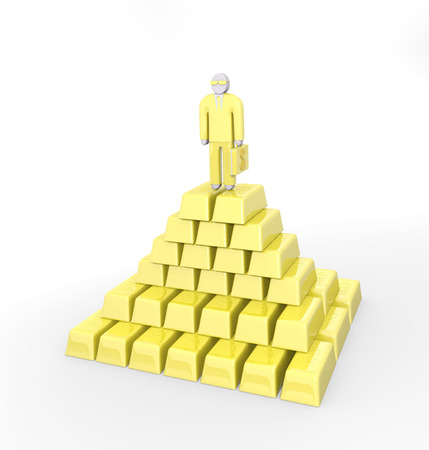 sucsess: Abstract businessman standing on a top of golden pyramid