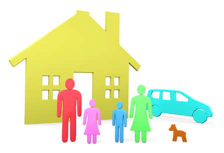 abstract family: Abstract family stands in front of their house and car