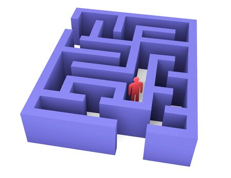 pitfall: Abstract man can not get out of the maze Stock Photo