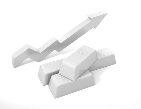 rising prices: Silver bullion. Rising prices for silver Stock Photo