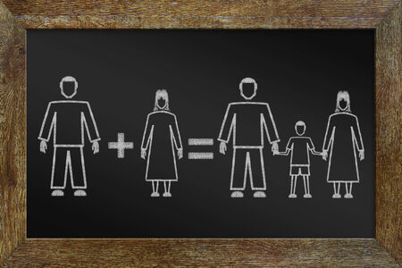 Concept of happy traditional family. Chalk drawing on the blackboard photo