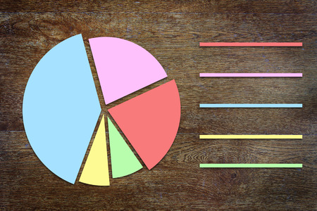 sectors: Round chart with sectors on wooden background Stock Photo