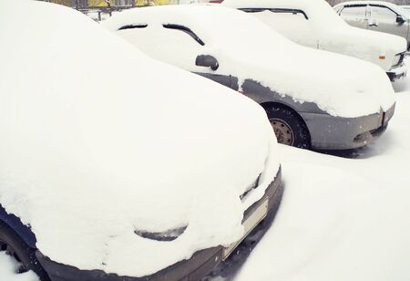 inclement weather: Cars covered with snow