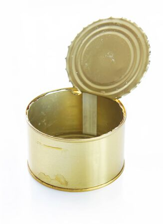 tinned: Open tin can over white background