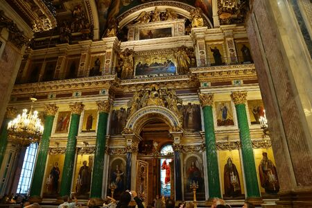 iconostasis: SAINT-PETERSBURG, RUSSIA - AUGUST 17, 2014. Iconostasis in the St. Isaacs Cathedral, St. Petersburg. Russia