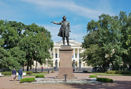 pushkin: Monument to Alexander Pushkin on Arts Square in front of the State Russian Museum.St. Petersburg, Russia Editorial