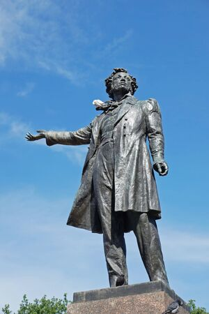 pushkin: Monument to poet Pushkin on Arts Square in front of the State Russian Museum.St. Petersburg, Russia