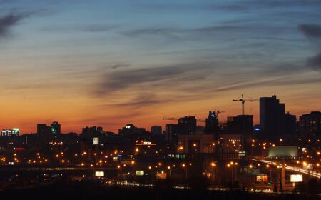 novosibirsk: NOVOSIBIRSK, RUSSIA - MAY 03, 2015. View of the night city