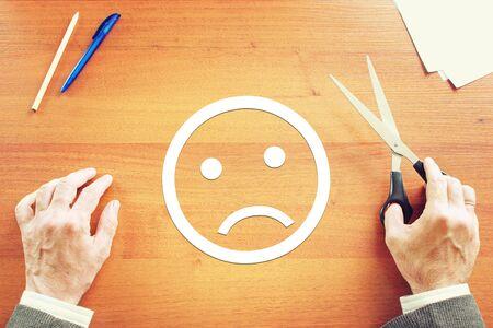 negative emotion: Man has negative emotion. Abstract conceptual image