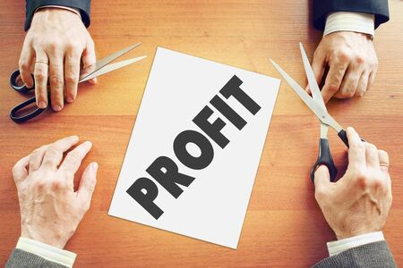 agree: Two businessmen agree about parts of the profit Stock Photo