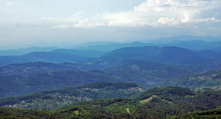 forested: Forested Caucasian mountains. Neighborhoods the city of Sochi in Russia