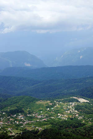forested: Village in the forested mountains next to the city of Sochi in Russia Stock Photo