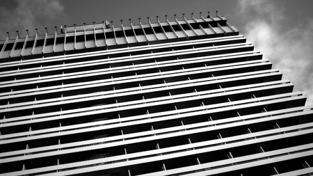 streight: Abstract architectural urban view. Architecture details and fragments in black and white Stock Photo