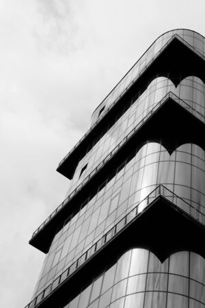 streight: Architecture details and fragments. Black and white image Stock Photo