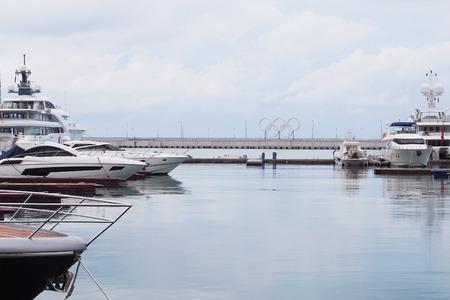 olympic rings: SOCHI RUSSIA  JUNE 16 2015. Olympic rings in the Sochi sea port