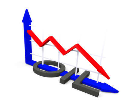 decline in values: Conceptual image about the fall of oil prices Stock Photo