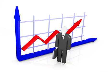 parameter: Conceptual image about the growth indicators and abstract figure of businessman