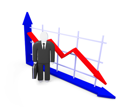 fall about: Conceptual image about the fall indicators and abstract figure of businessman Stock Photo