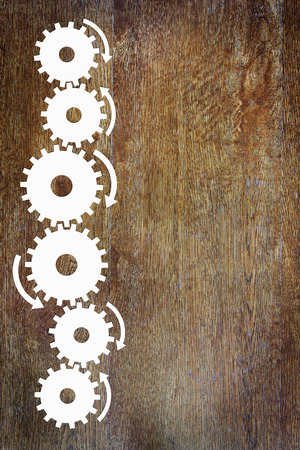 sidebar: Wooden background with a sidebar made of cogwheels