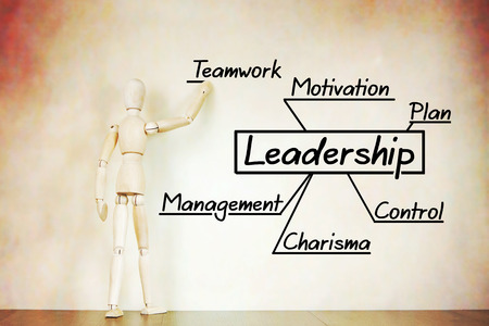 leadership abstract: Man draws the scheme of leadership. Abstract image with a wooden puppet