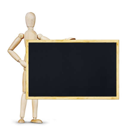marioneta de madera: Man holds a horizontal blackboard. Abstract image with wooden puppet