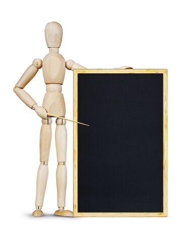 marioneta de madera: El hombre sostiene una pizarra vertical. Imagen abstracta con una marioneta de madera