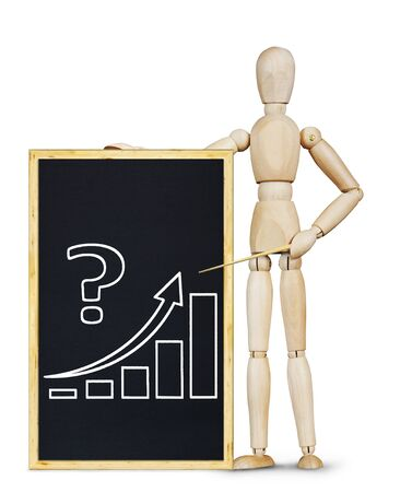 marioneta de madera: El hombre muestra un gr�fico de crecimiento. Imagen abstracta con una marioneta de madera