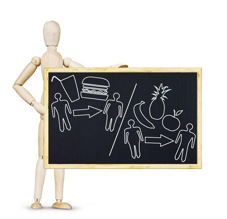 marioneta de madera: El hombre demuestra la comida adecuada para una alimentación saludable. Imagen abstracta con una marioneta de madera