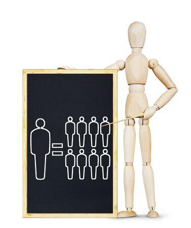 wooden puppet: capacidad humana excepcional. Imagen abstracta con una marioneta de madera Foto de archivo