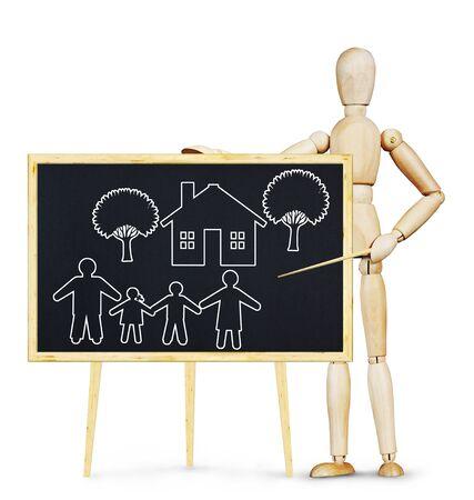 marioneta de madera: Concepto de los valores tradicionales de la familia. Imagen abstracta con una marioneta de madera Foto de archivo