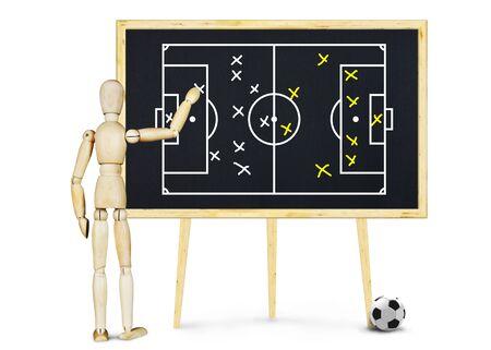marioneta de madera: entrenador de fútbol explica el plan de juego. Imagen abstracta con una marioneta de madera