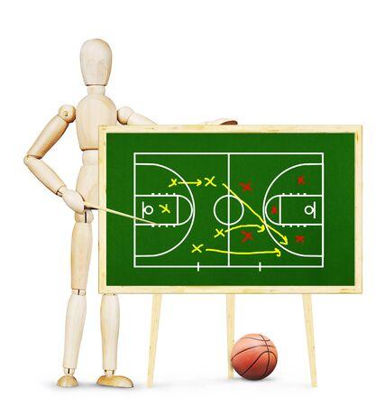 marioneta de madera: El entrenador muestra el plan de juego de baloncesto en la pizarra verde. Imagen abstracta con una marioneta de madera Foto de archivo