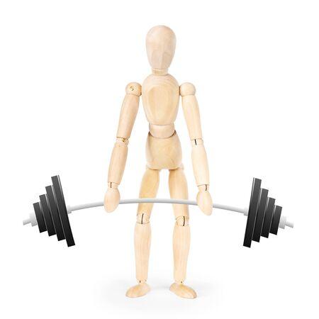 marioneta de madera: El levantador de pesas aislados sobre fondo blanco. Imagen abstracta con una marioneta de madera