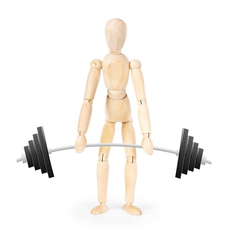 weightlifter: Weightlifter isolated over white background. Abstract image with a wooden puppet Stock Photo